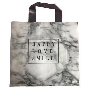 Custom Design Logo Printing Transparent Plastic Shopping Bag With Die Cut Handle