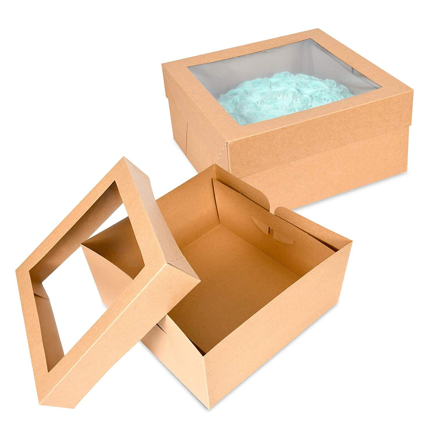 "Cake Boxes 12""X12""X6"" with Pvc Window Great for Cakes, Cupcakes, Donuts, Pies, Cookies, Pastries"