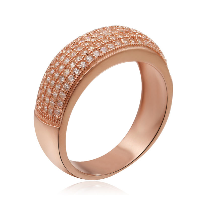 Women Gold Tat Ring Jewelry Designs Cubic Zirconia Rose Gold Ring