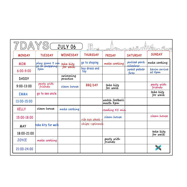 2020 Amazon Hot Selling Weekly Planner Dry Erase Magnetic Whiteboard Calendar for Fridge