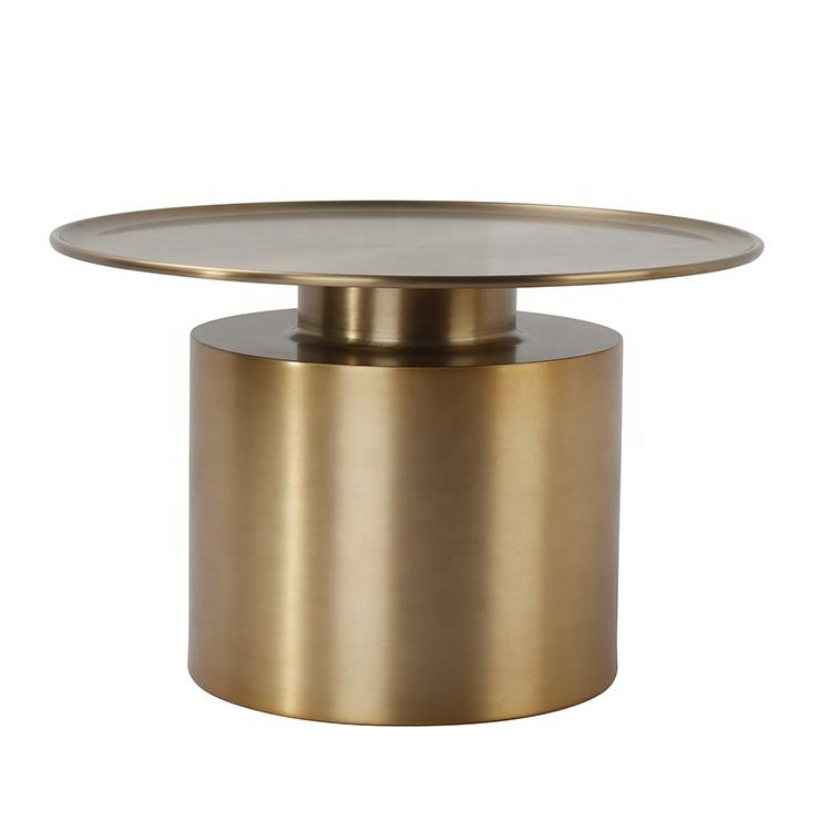 Wholesale cheap simple design furniture aluminium brass antique gold bed Side Table