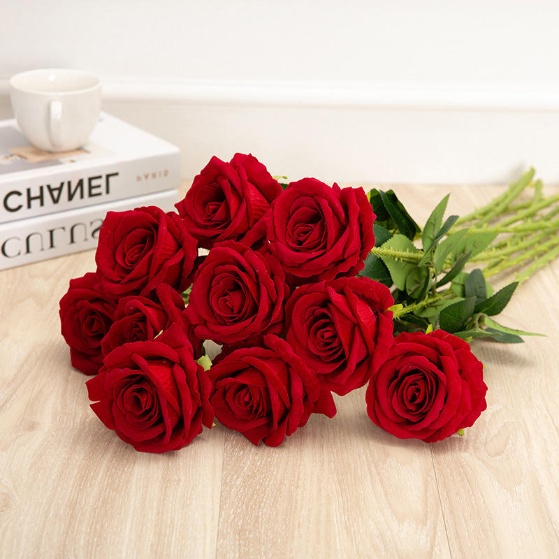 Hot Selling Artificial Red Single Stem Silk Velvet Roses Flower For Wedding