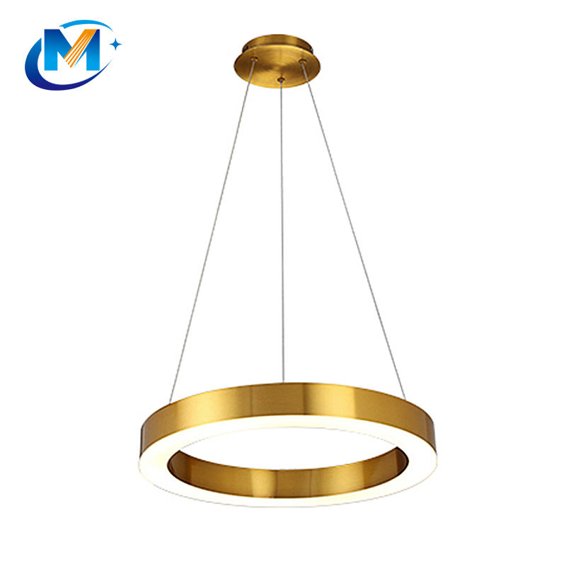Modern Led Acrylic Hanging Lamp Pendant Lamp 5 Ring Gold Brass Circle Luminaires Lustres Home Lighting Luxury Chandeliers+