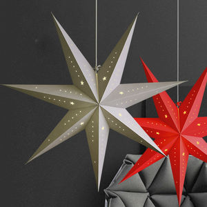 Star Cut-Out Party Festival Papier Ster Lamp Licht Opknoping Lantaarn Voor Kerst Decoratie