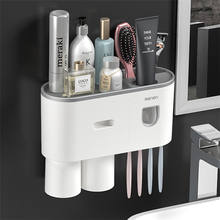 Two Tooth Brushing Cups And Automatic Toothpaste Dispenser Wall-mounted Plastic Toothbrush Holder