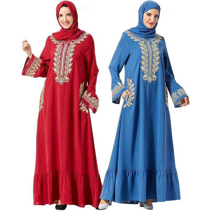 Wholesale Dignified Fashion Muslim Women Large Embroidered Long Abaya Dress with Pocket