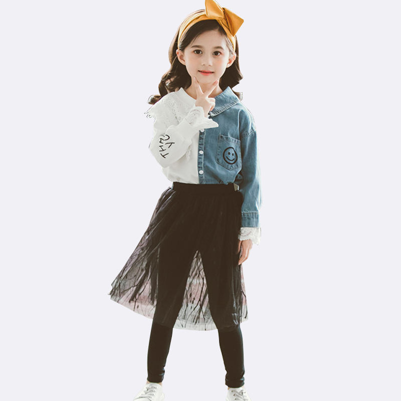 CCYH children boutique fall clothes Korean style contrast stitching t-shirt+culotte girls set clothes