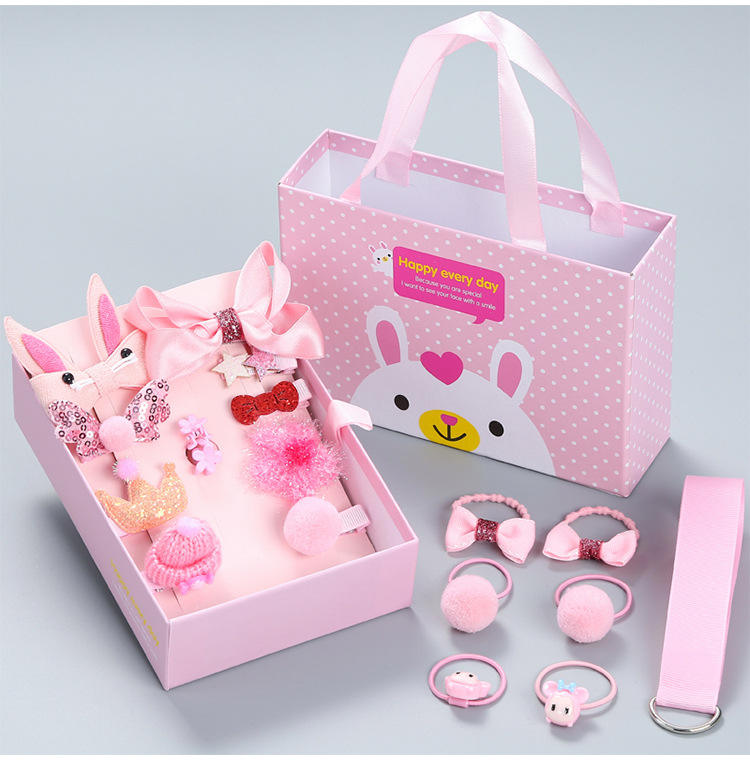 Best Selling Luxury Gift Box Hair Accessory Set Barrettes Ties Clips Rhinestone Hairbands Headband For Kids