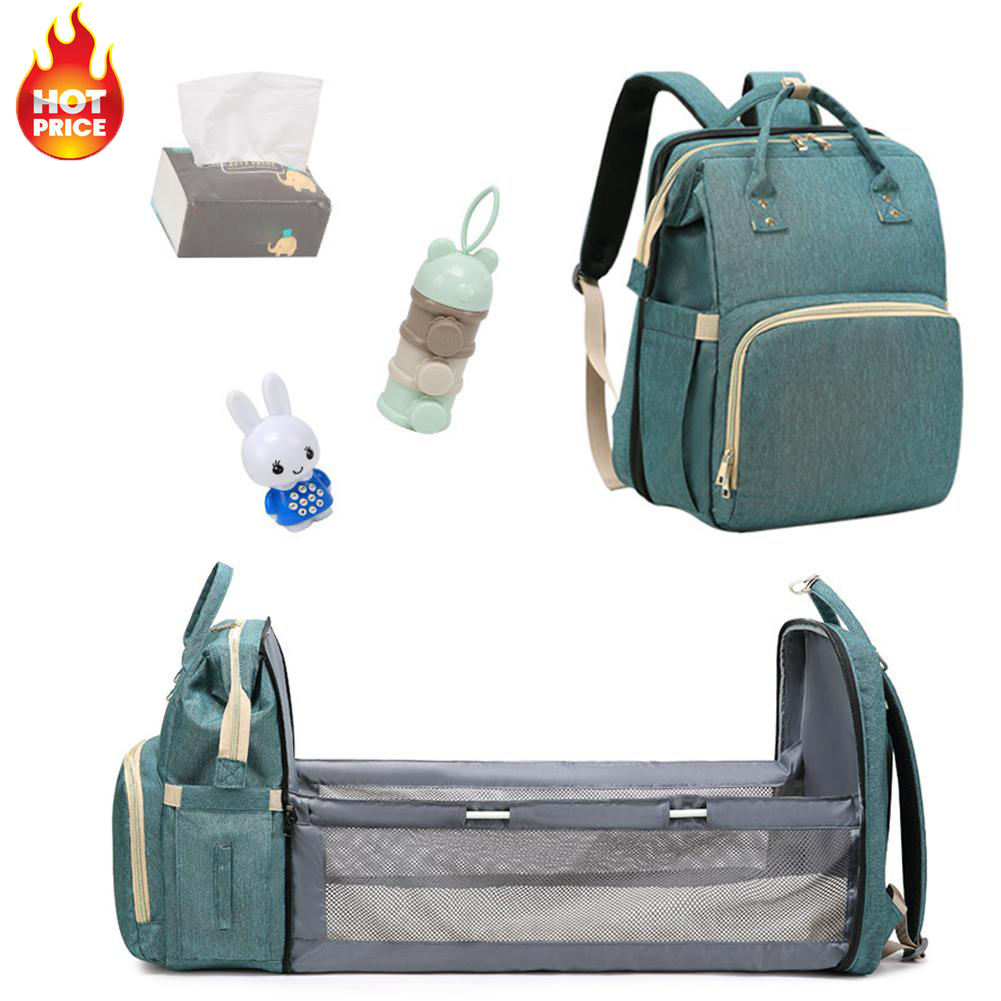 Wholesale Portable Waterproof Mummy Back Pack Large Capacity Foldable Baby Bed Diaper Bag Bebe Bolsas