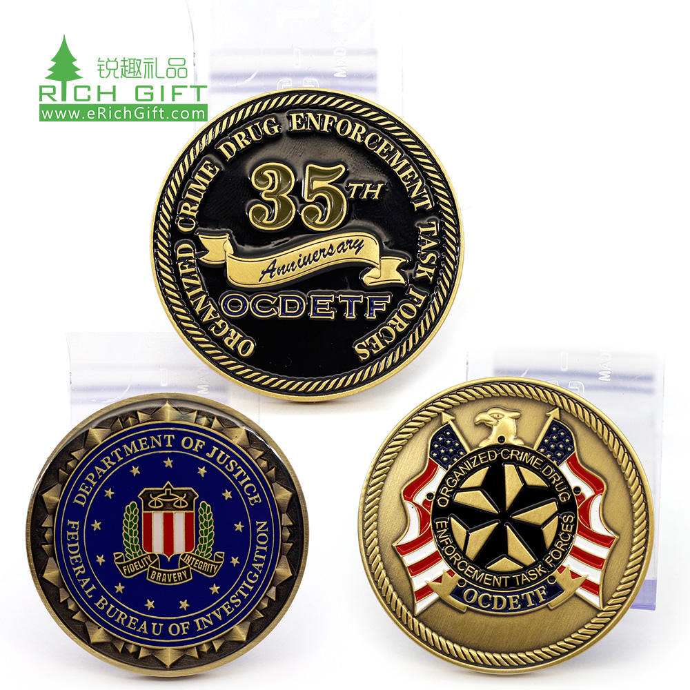 Pretty decorative bulk custom metal zinc alloy enamel 3d soldier collectible american silver challenge coins for gift