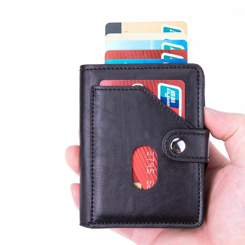 2020 New Minimalist Wallet RFID Blocking Pop Up Credit Card Holder Automatic Smart Wallet
