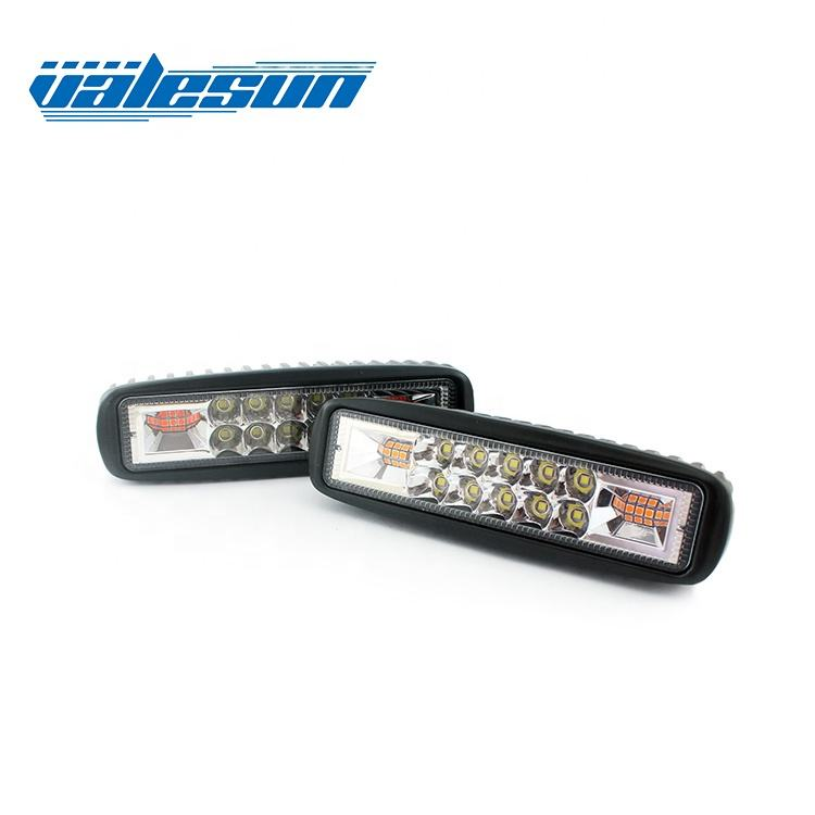 12V 24V 6inch 48W Strobe flashing Led Work Light Bar Dual Color Flashing LED Warning Light for Offroad SUV Motorcycle Boat