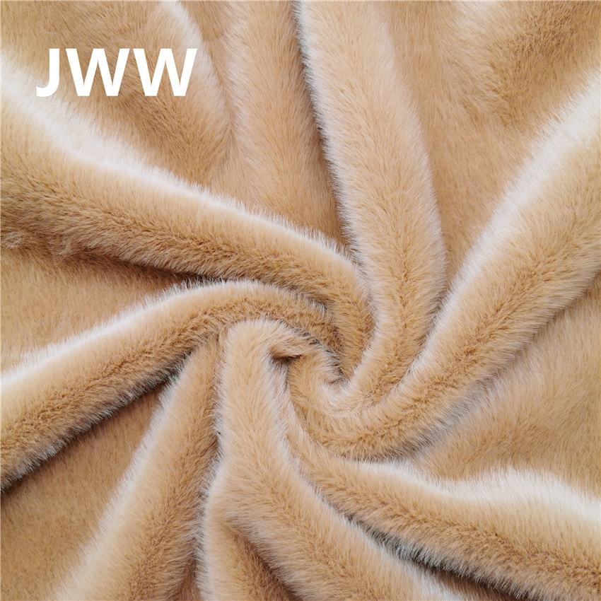 high quality brown faux mink fur fabric for garment