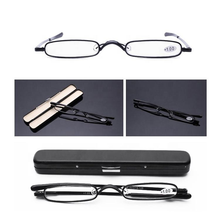 2020 High end Fashion Small Mini Metal Stainless Steel Reading Glasses with Pen Tube Aluminum Case