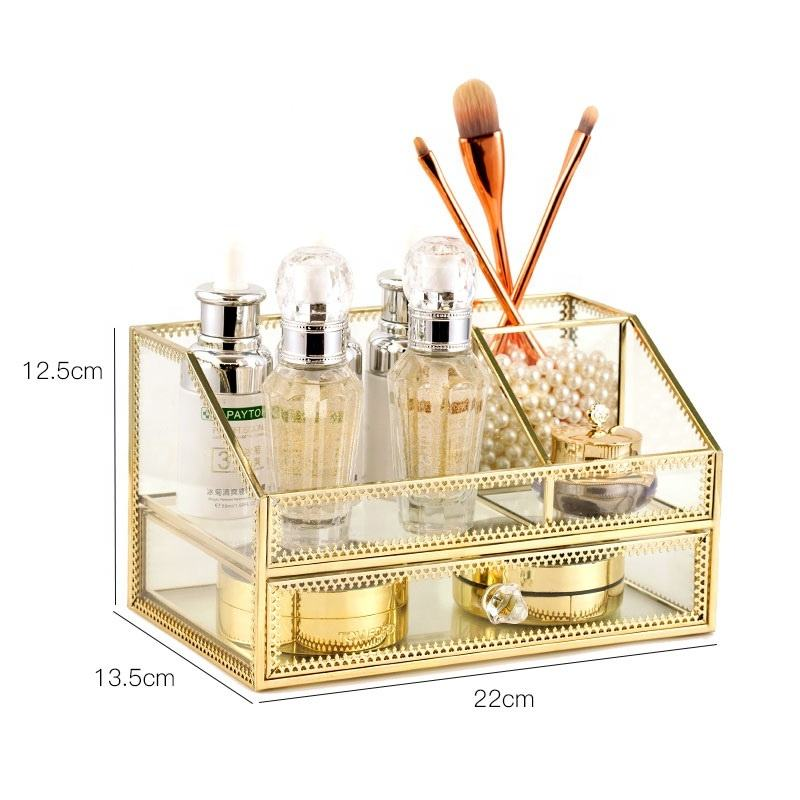 Factory direct supply Sales classic glass organizer make up with best quality