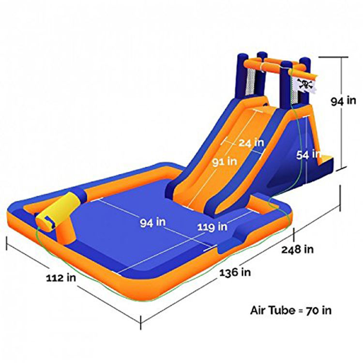 Commercial Giant Inflatable Fire รถบรรทุกโจรสลัดเรือ Bounce House สไลด์ภายใน