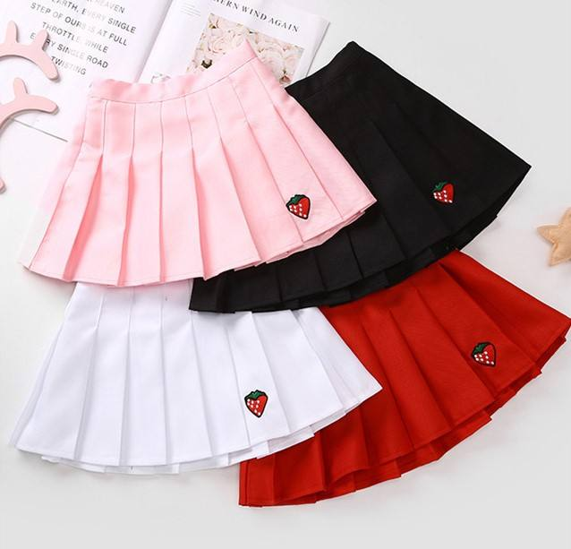 Wholesale More Color Children Skirt Embroidery Strawberry Teenage Girls Mini Dress Blank Kids Pleated Mini Pink Skirt Girls
