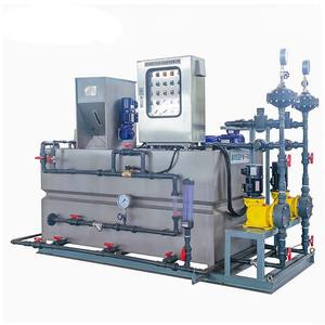 automatic skid mounted mobile etp chemical poly liquid and powder flocculant mixing dosing unit system for chilled water