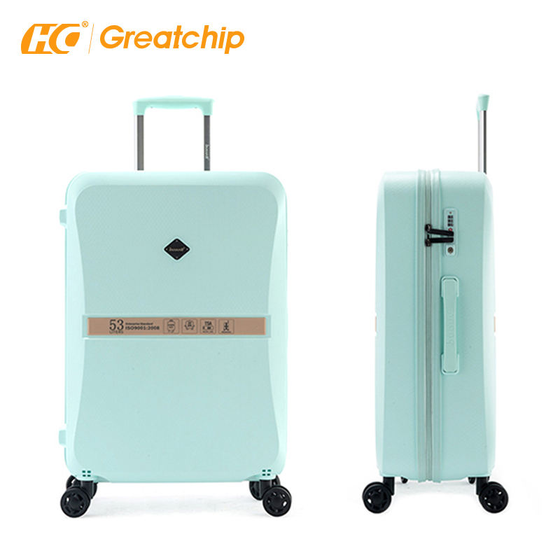New Arrival PP Polypropylene Trolley Bags Cases Plastic Suitcase TSA Lock Spinner Wheels Luggage bags