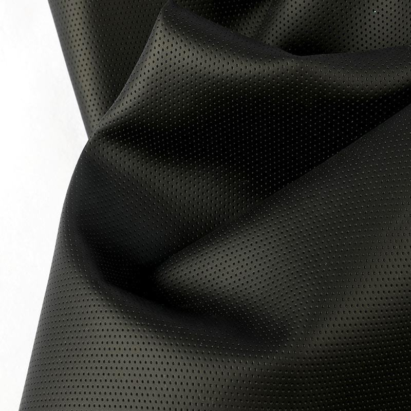 Waterproof leather fabric hole punching pvc vinyl fabric artificia carl leather perforated