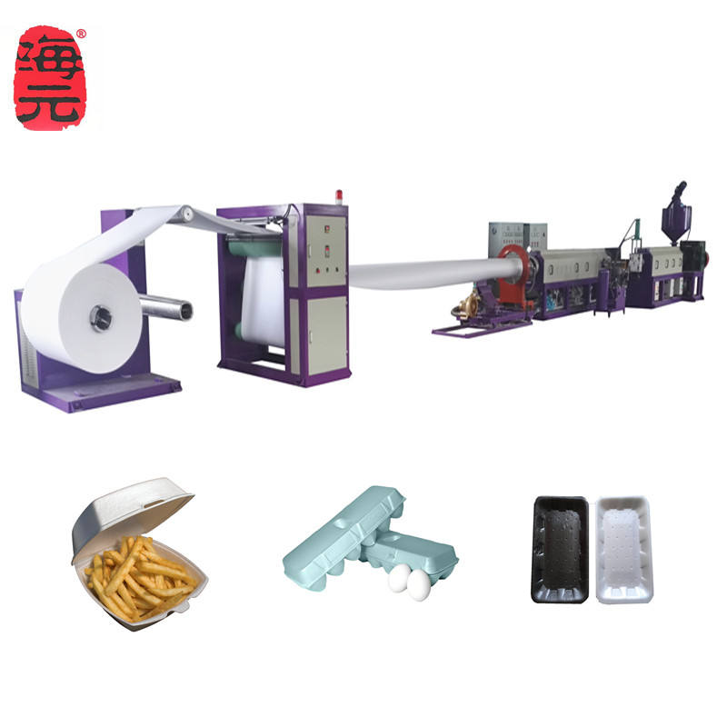 PS foam sheet extruder for making foam thermocol tray/disposable lunch box/food plate machine