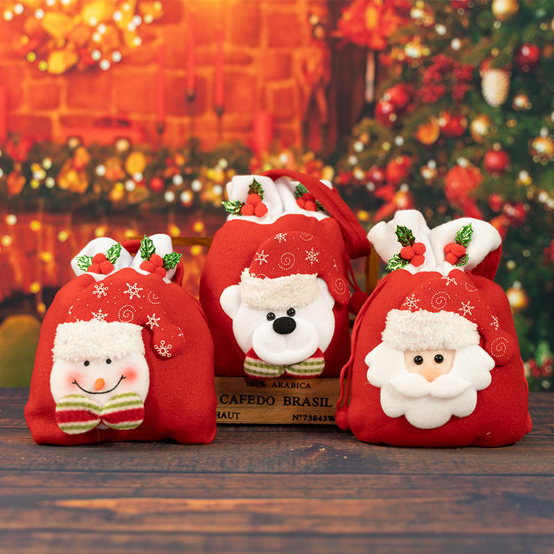 MTA New Style Small Linen Santa Gift Bag Felt Christmas Candy Bag