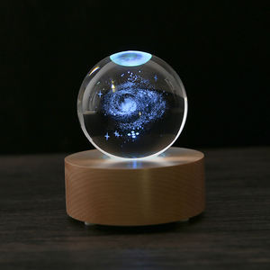 New Design 3d Solar System Laser Engrave Magic Crystal Ball with LED Stand