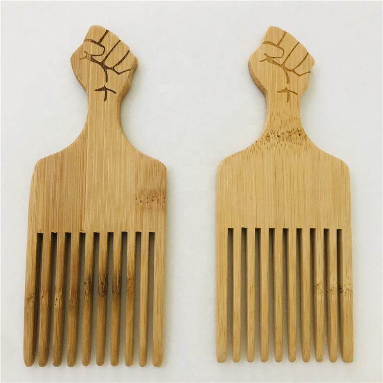 Custom Wholesale Wooden Hair Pick Fist Fork Comb Afro Hair Comb