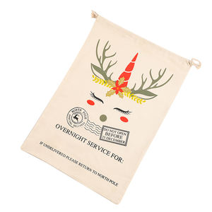 New Arrival Wholesale Canvas Personalized Unicorn Reindeer Christmas Santa Sack
