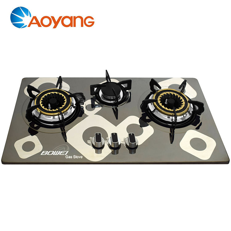 Home kitchen appliance 3 burner gas hob/gas cooker, super flame gas stove