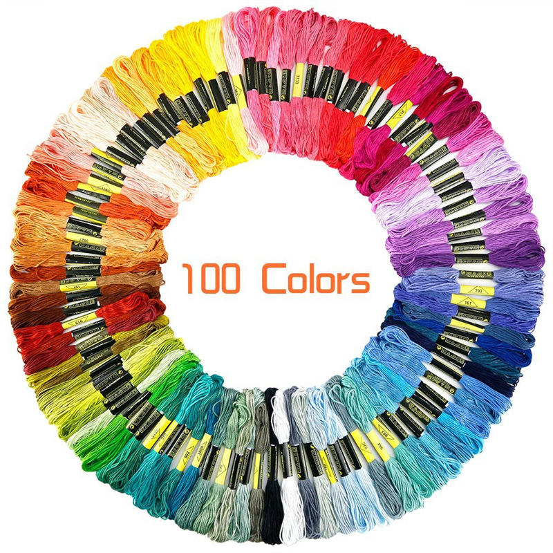 50/100/150colors Rainbow Color Embroidery Floss Cross Stitch Threads Crafts Floss woven color cotton thread