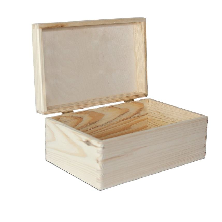30 x 20 x 14 cm without Handles with Lid Unpainted Large Wooden Box Storage