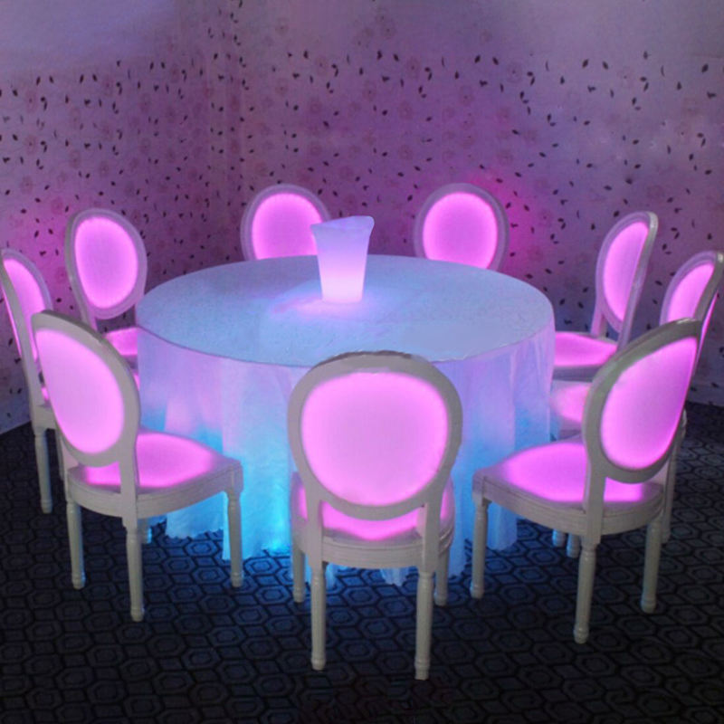2021 Amazon new product RGB 16 color changing luminous modern led dining chairs and table