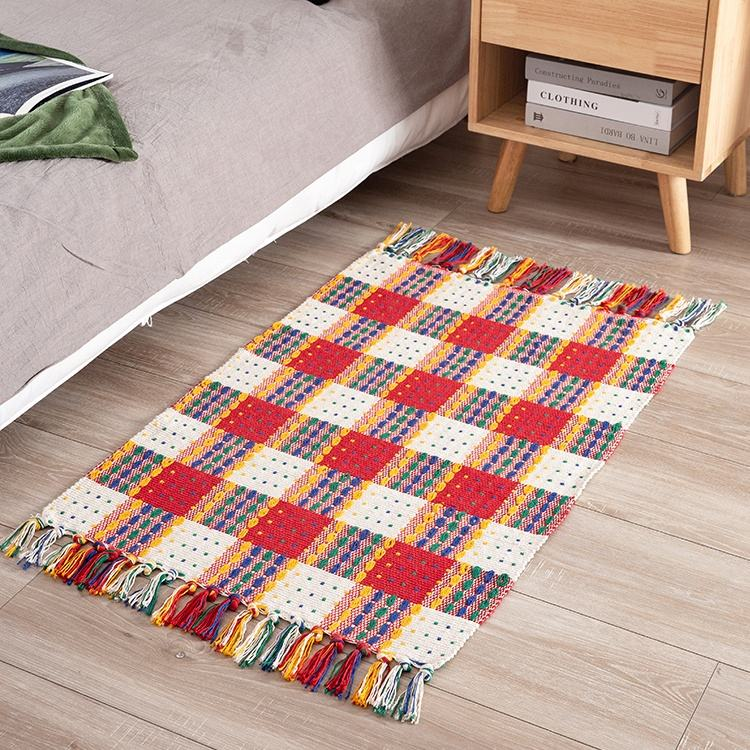 Living room accessories color floor mat boho woven area rug india carpet for bedroom