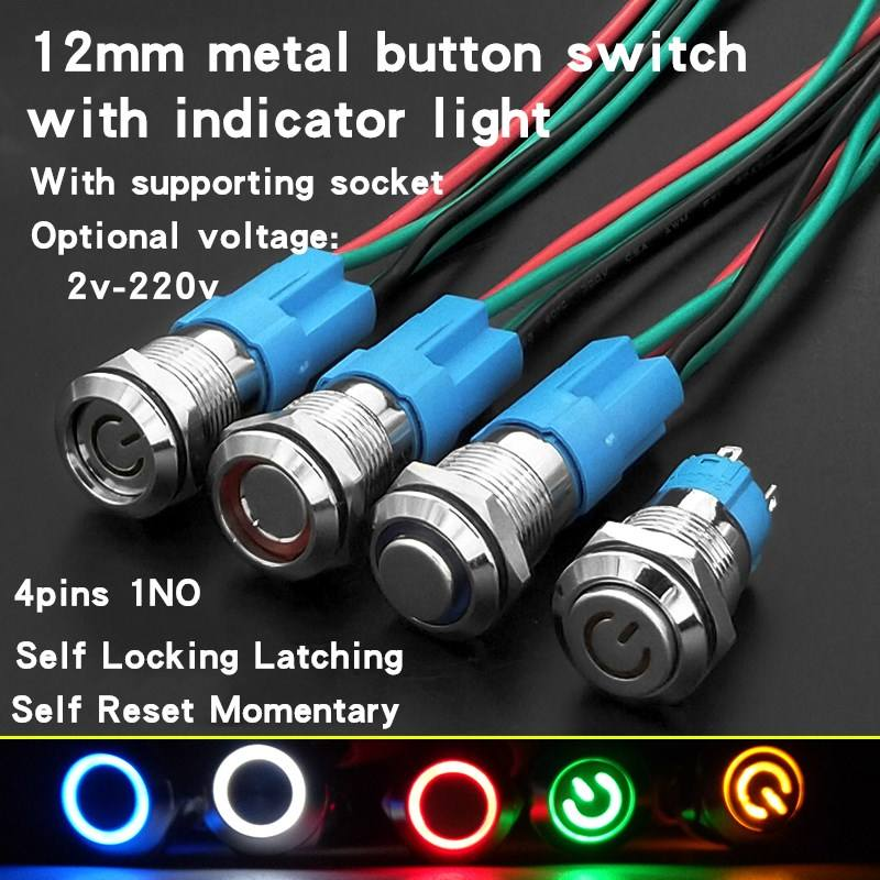 Acouto 12mm 12V LED Button Switch,LED Latching ON//Off Power Push Button Switch Waterproof Metal Momentary Type Blue