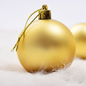 Golden matte custom logo acrylic Christmas decoration ball Christmas tree ornaments ball type