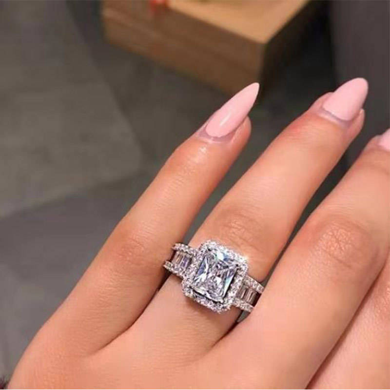 CAOSHI Luxury Sparkly Stone Zircon Silver Ring For Women Engagement Wedding Ring 2020