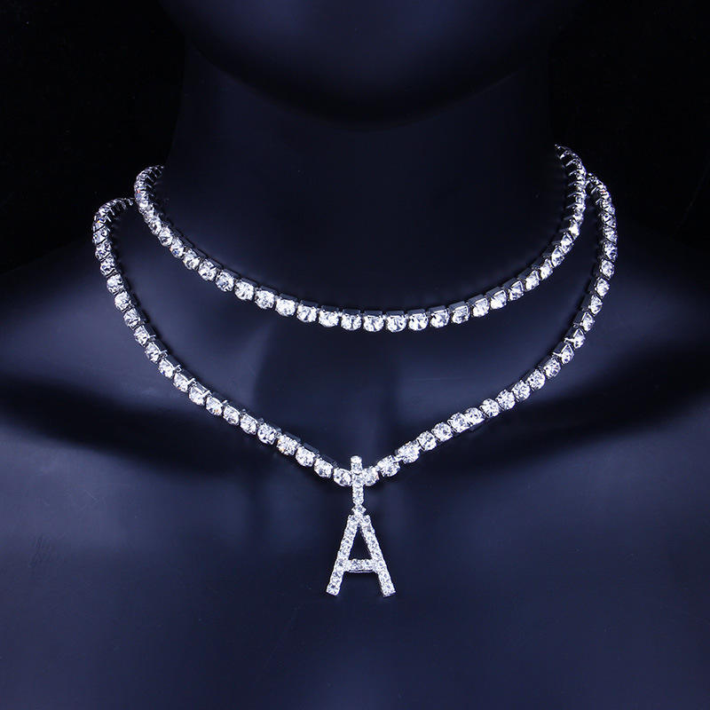 Hot Selling Wholesale Cubic Zirconia Alphabet Iced Out Necklace 26 Letters Sparkly Tennis Chain Necklace