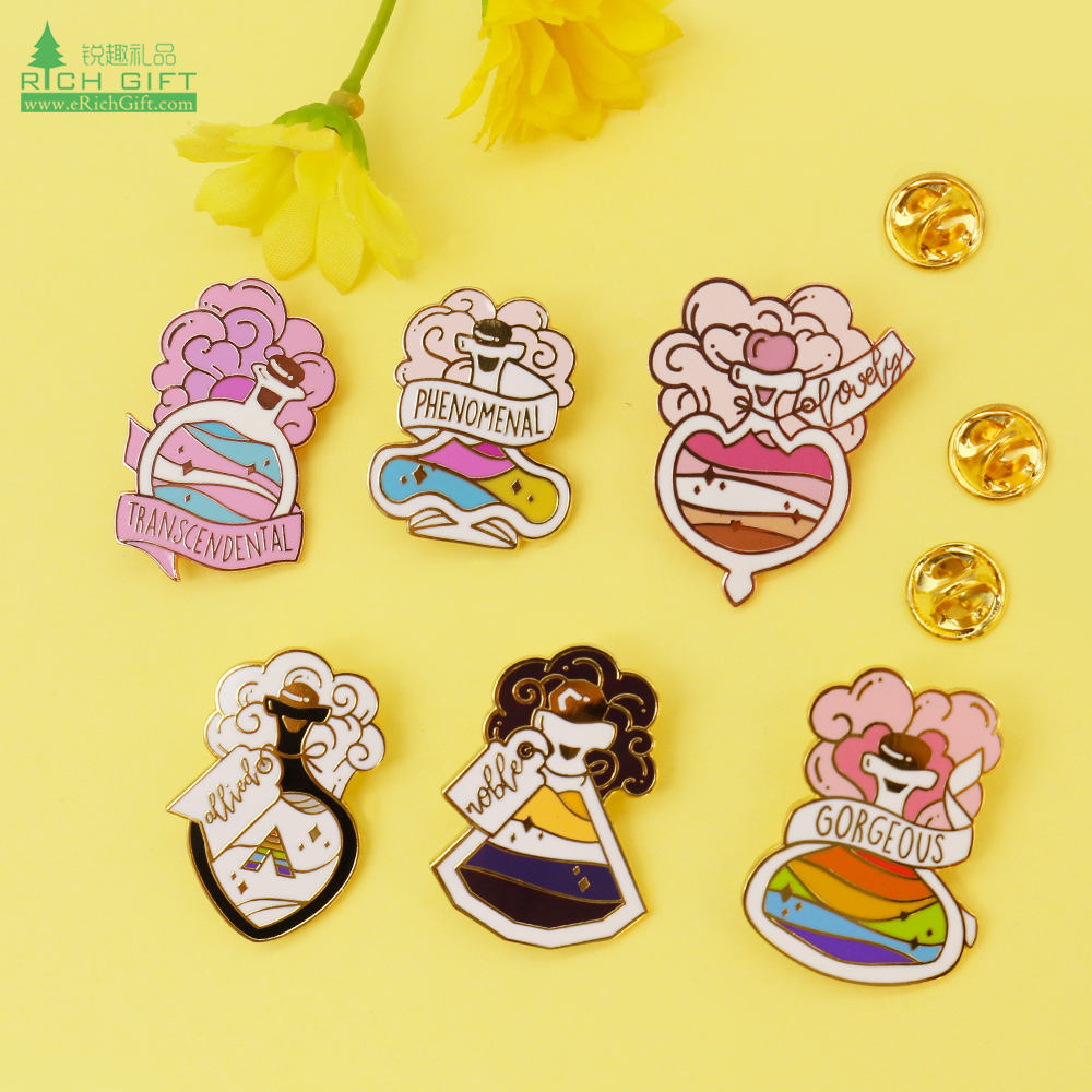wholesale promotion kawaii cute pink rose gold custom logo soft hard enamel hat lapel pins small quantity no minimum order