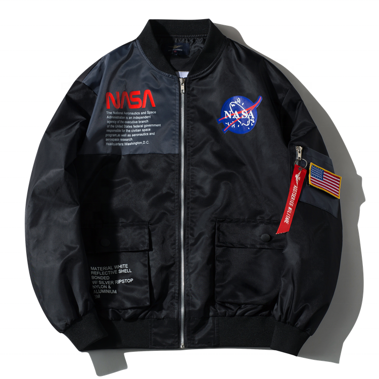 2019 style plus-size factory direct nasa aviator coat men's jacket with badge