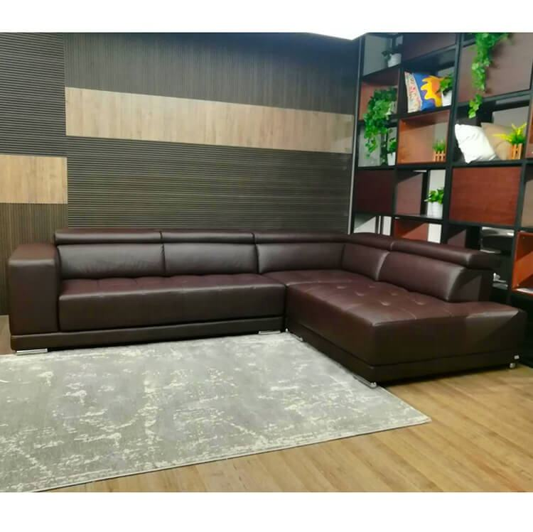 Modern Big Couch Living Room Casa 4 Seater Brown Leather L Shaped Sofa