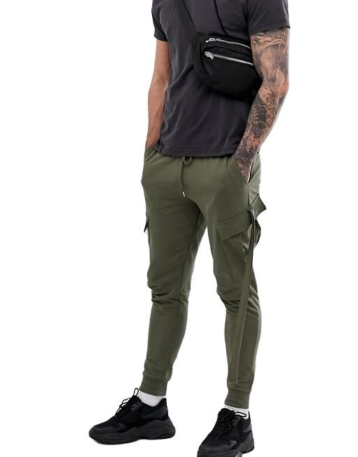 Custom Men Skinny Jogger With Cargo Pants Pockets And Strapping In Khaki