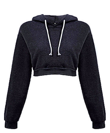 High Quality Custom Logo Cotton Long Sleeve Crop Top Women Hoodie For Gym