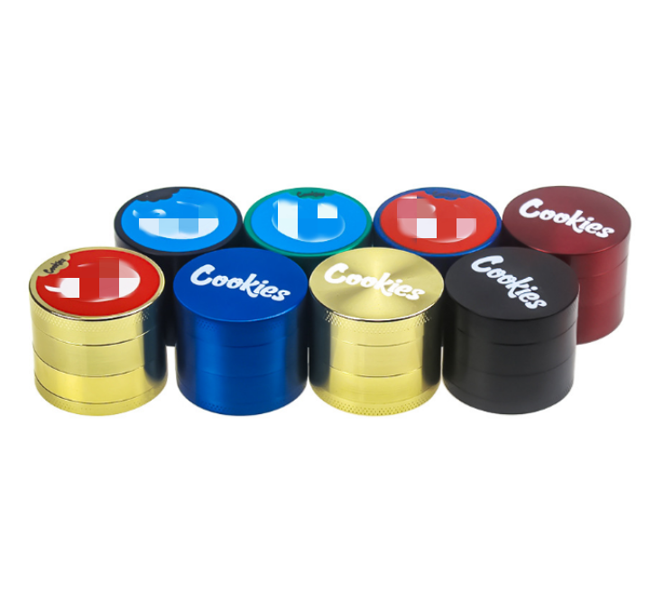 wholesale newest cookie style 40 mm 4 parts zinc alloy herb grinder spice weed crusher smoking accessories custom logo