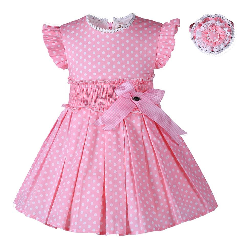 2021 New Pettigirl Girls clothing Dresses Mommy and Me Maxi Spanish Traditional Dress Pink Girls Polka Dot Dress