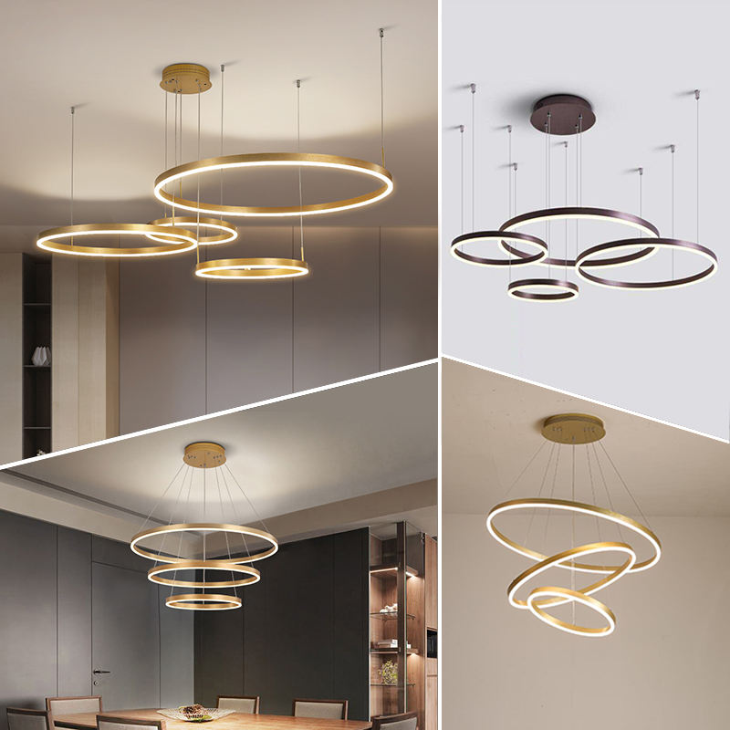 Modern hanging decorative circle rings acrylic LED pendant light gold led chandelier for home hotel living room