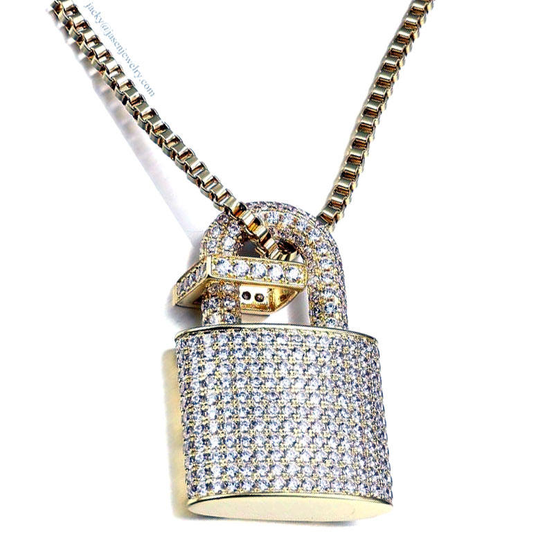 Iced Out 925 Sterling Silver Charm Necklace Delicate Lock Padlock Pendant Necklace