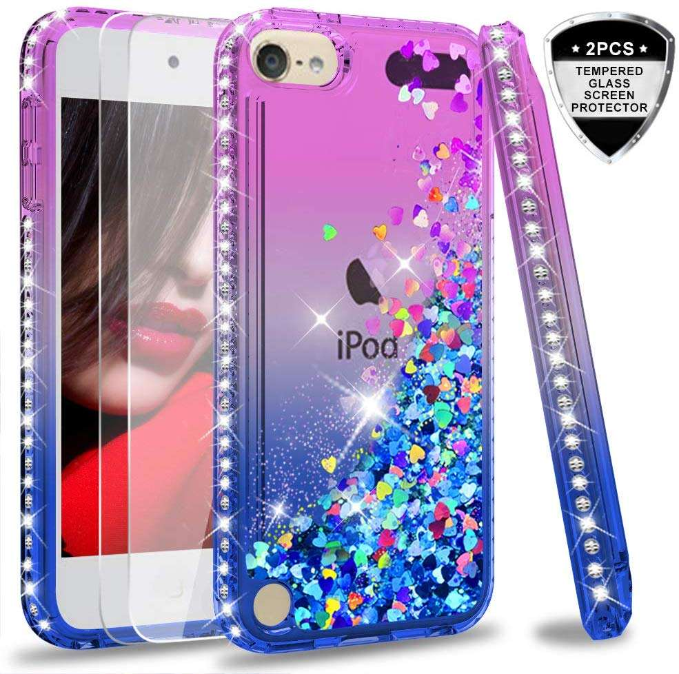 LeYi For iPod Touch 7 Touch 6 Touch 5 Case with Tempered Glass Screen Protector[2 pack], Girls 3D Glitter Liquid Cute Clear Case