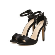 2020 Summer Wholesale Sexy Ladies Dress Shoes Black Rhinestone Women Sandals High Heels for Party Club