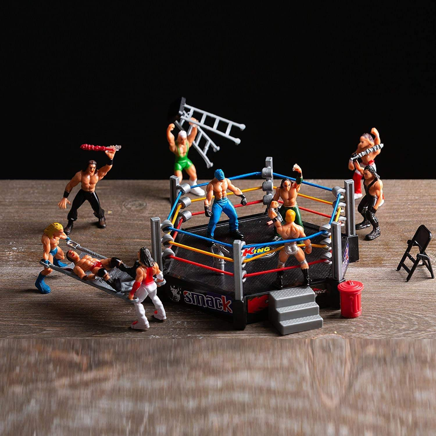 32Pcs Wrestling Toys for Kids Wrestler Warriors Toys with Ring & Realistic Accessories Fun Miniature Fighting WWE Action Figures